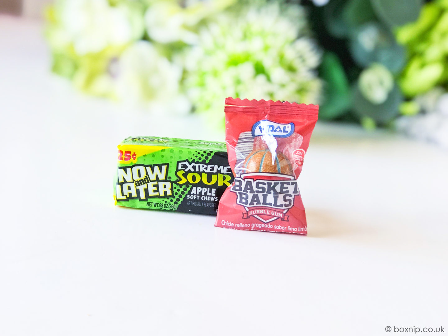 Now and Later Extreme Sour Apple soft chews and Vidal Basket Balls Bubble gum - Taffymail American Candy Subscription bo