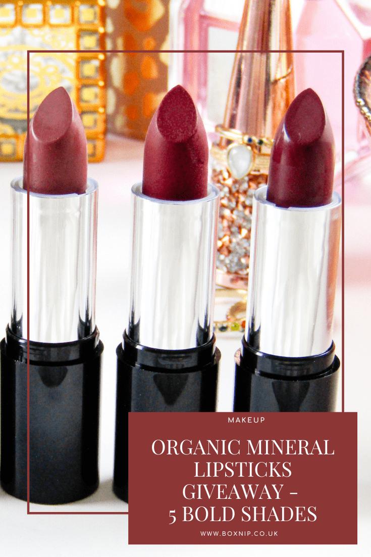 Organic Mineral Lipsticks Giveaway - 5 Bold Shades